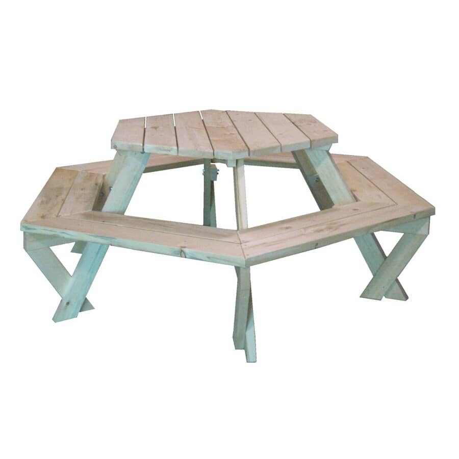 4B WOOD PRODUCTS:Unfinished Hexagon Pine Picnic Table