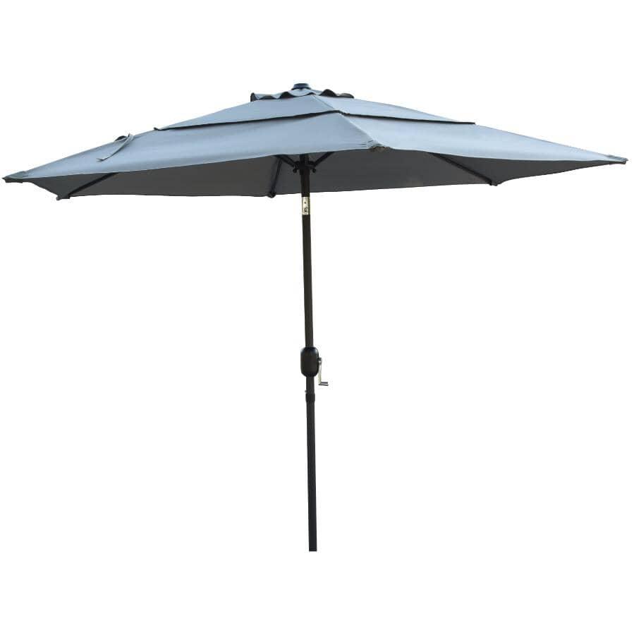 INSTYLE OUTDOOR:9' Sunpoly Tilt and Crank Market Umbrella - Grey
