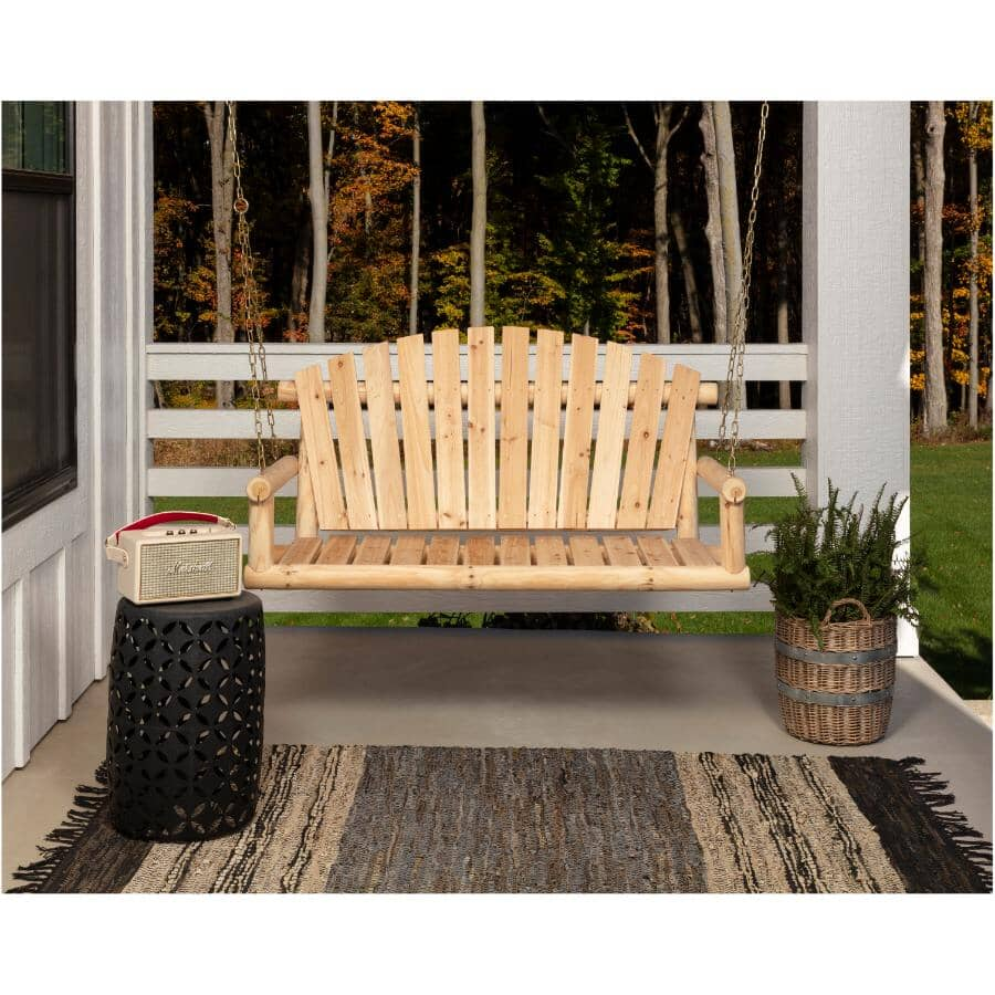 NORTH WOODS:Toasted Finish Hanging Bench Swing, with Chain