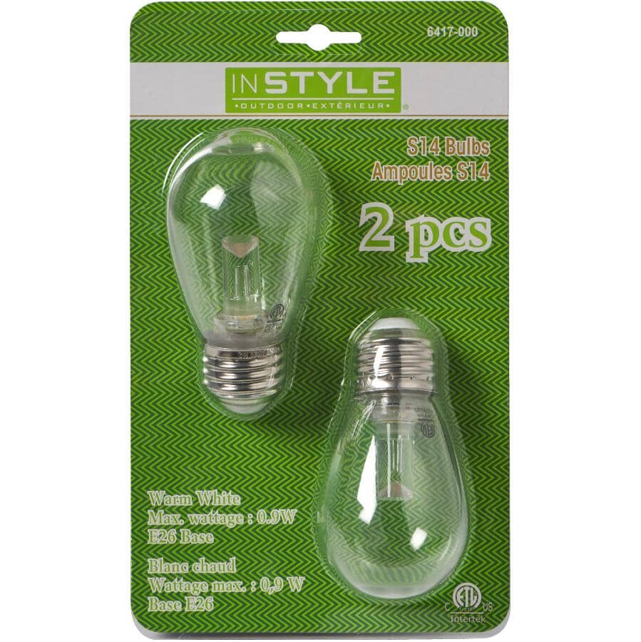 INSTYLE OUTDOOR:2 Pack Warm White S14 LED Bulbs