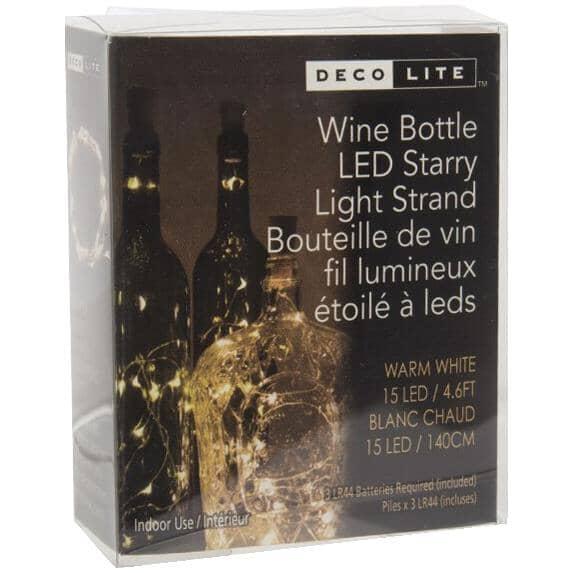 DECO LITE:15 LED Battery Operated Light Set, for Wine Bottle