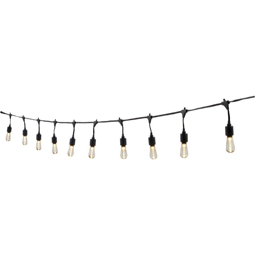 INSTYLE OUTDOOR:10 Light S10 Warm White Drop Socket Light Set, with Black Wire