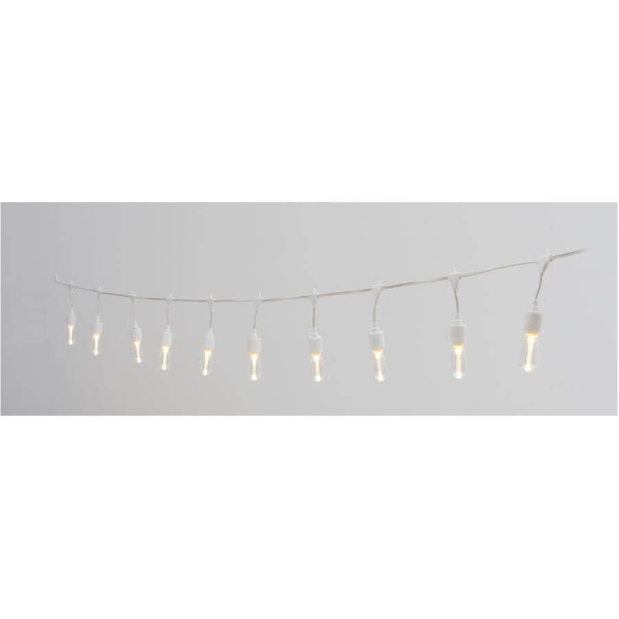 INSTYLE OUTDOOR:10 Light S10 Warm White Drop Socket Light Set, with White Wire