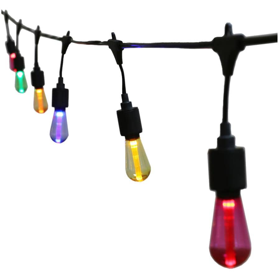 INSTYLE OUTDOOR:10 Light S10 Multi-Colour Drop Socket Light Set, with Black Wire