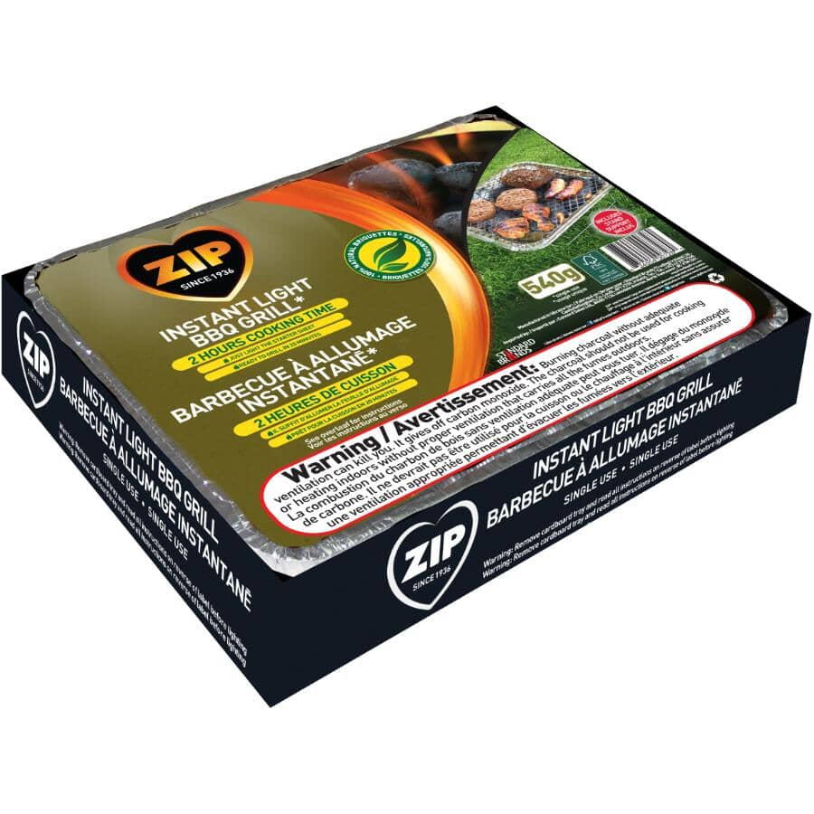 ZIP:Instant Light Disposable Table Top Charcoal Barbecue