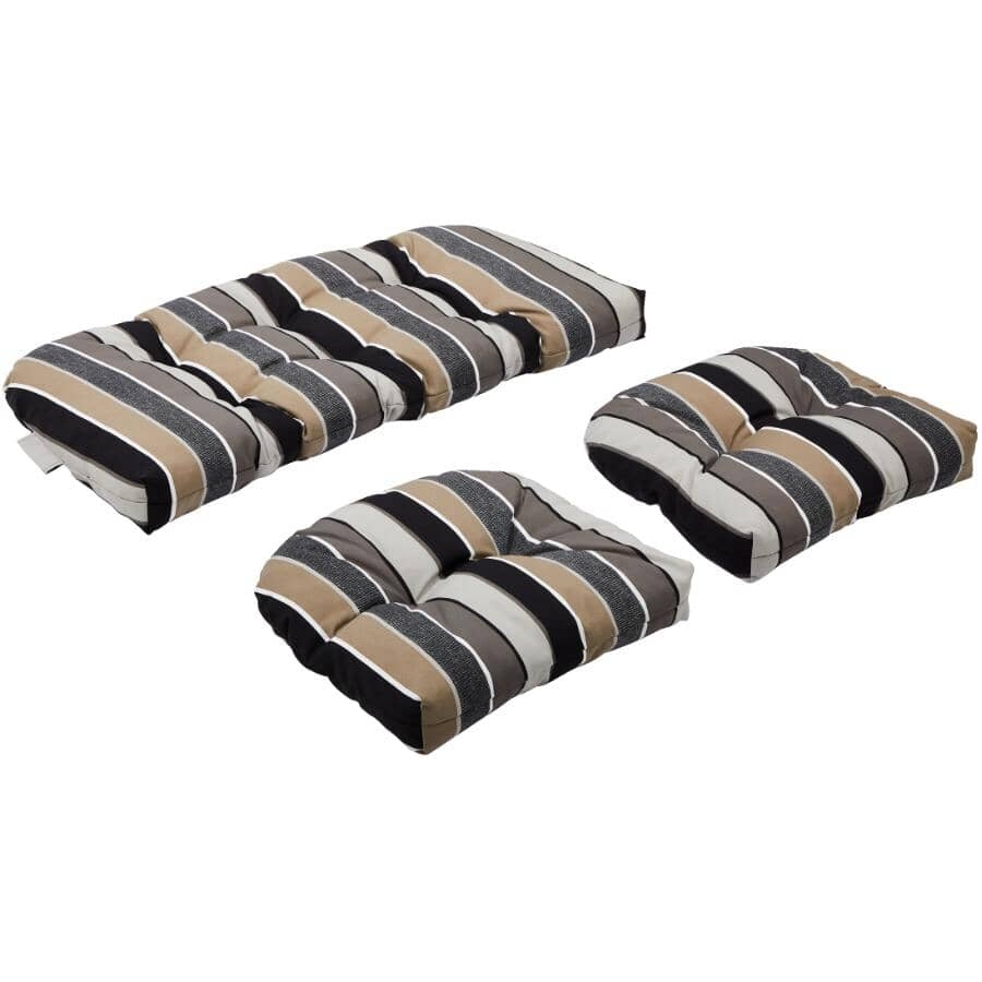 BOZANTO:Conversation Cushion Set - Black + Taupe Stripe, 3 Piece