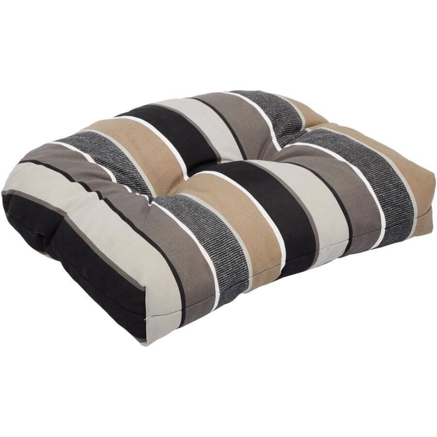 BOZANTO:Deluxe Seat Cushion - Black + Taupe Stripe