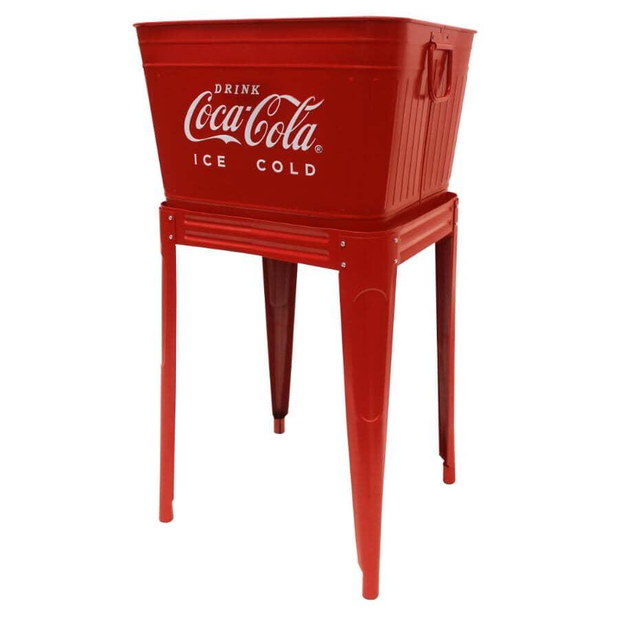 COCA-COLA:42 Quart Metal Patio Cooler - with Stand