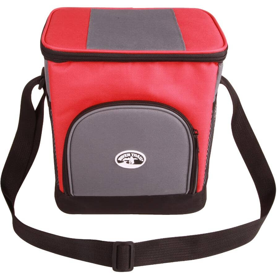 RIVER TRAIL:12 Can Grey/Red Soft Sided Cooler Bag