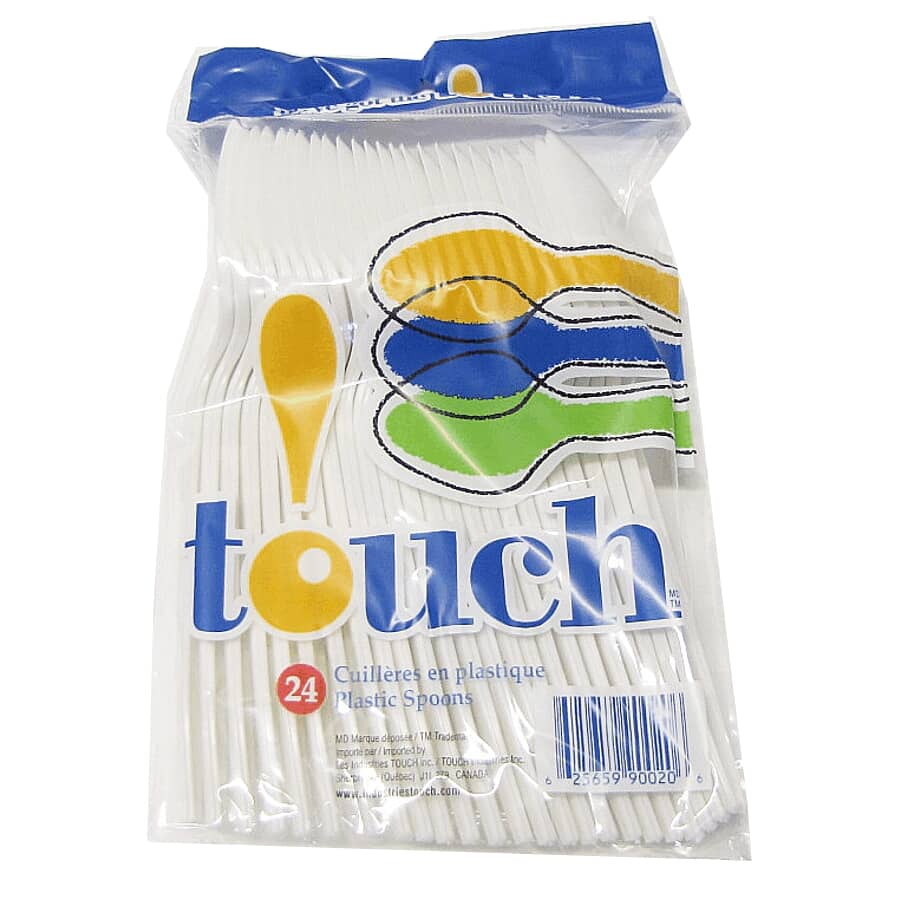 TOUCH:Plastic Spoons - White, 24 Pack