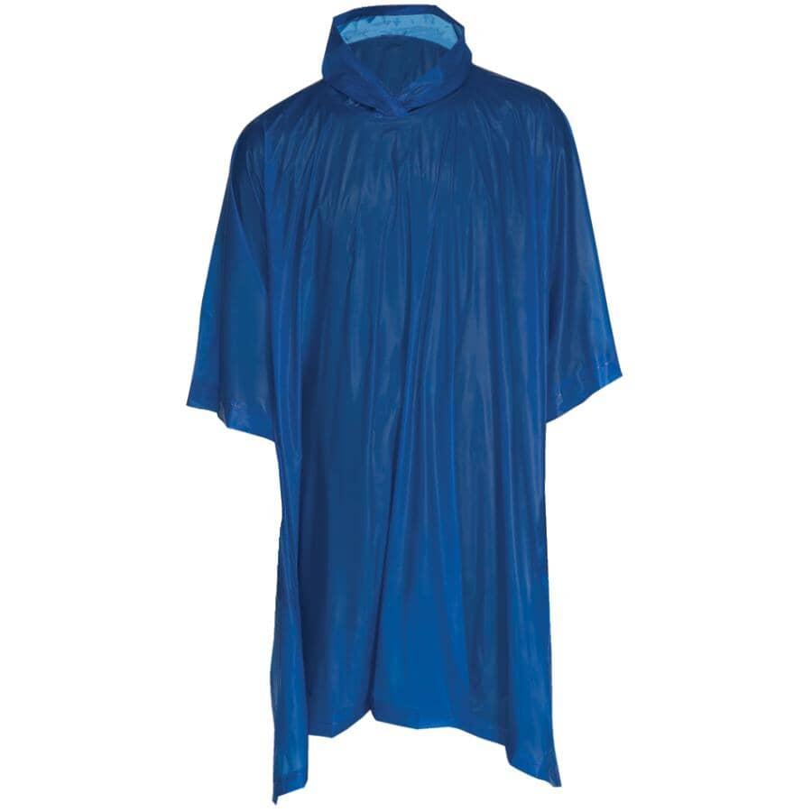 "WESTCHESTER:Adult PVC Rain Poncho - 52"" x 80"", Blue"