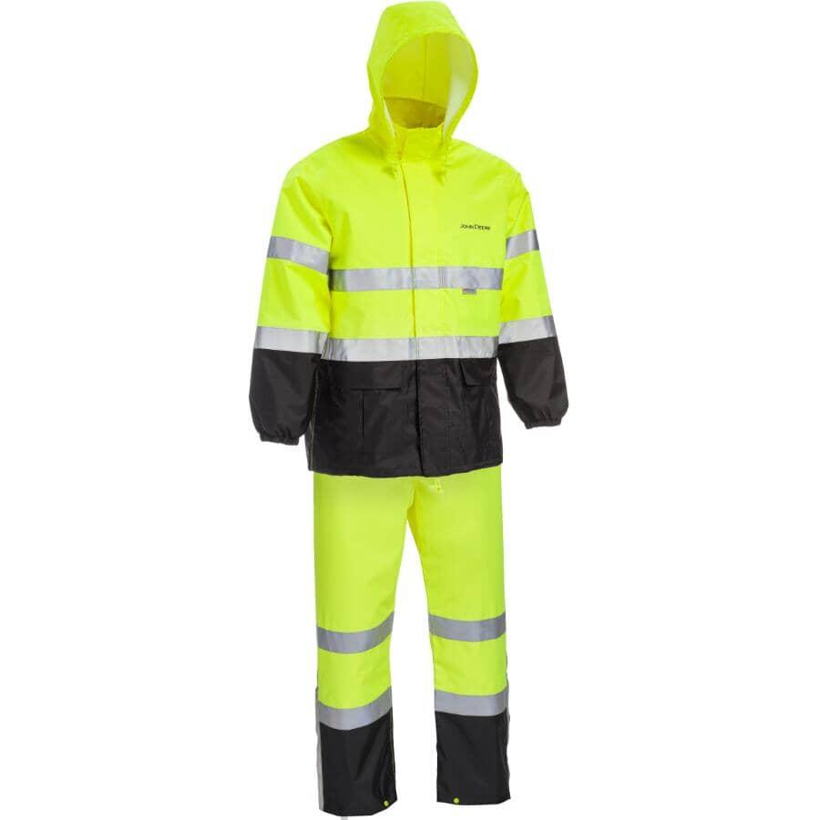 WESTCHESTER:Men's 2 Piece High Visibility John Deere Rain Suit - Extra Large, Lime Green