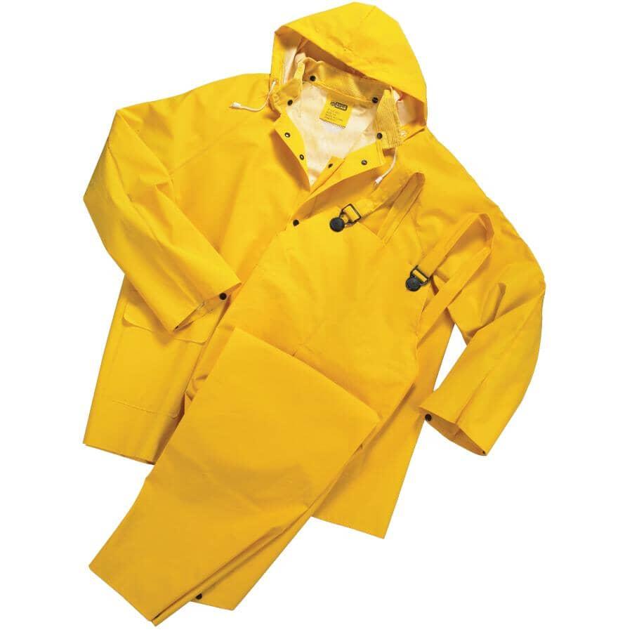 WESTCHESTER:Men's 3 Piece PVC / Polyester Rain Suit - Extra Large, Yellow