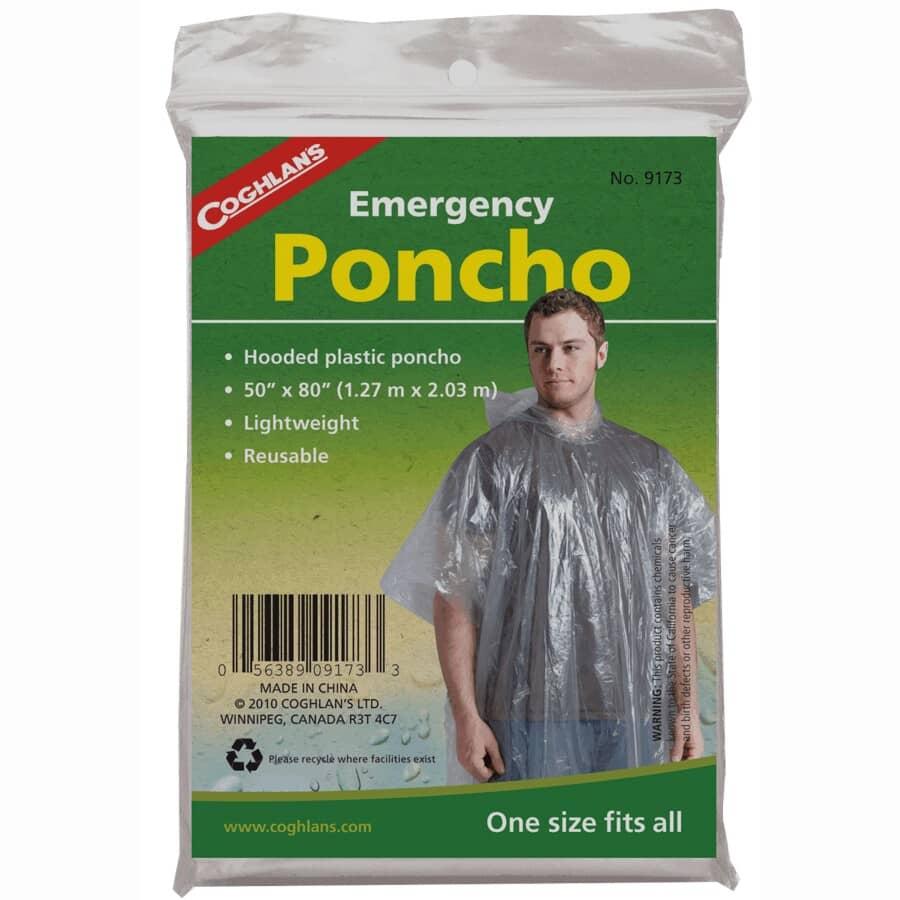 COGHLAN'S:Emergency Rain Poncho - One Size, Clear