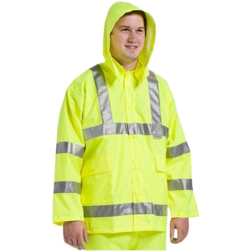 WESTCHESTER:Men's High Visibility Polyester Rain Jacket - Extra Large, Fluorescent Green
