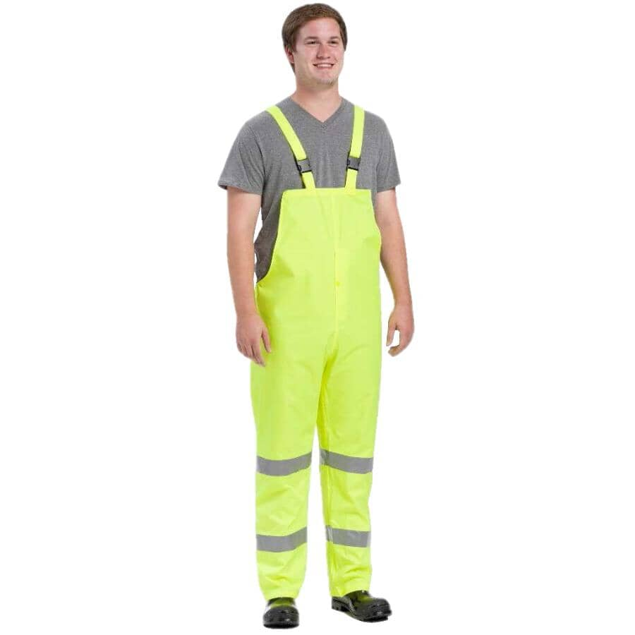 WESTCHESTER:Men's High Visibility Polyester Rain Pants - Large, Florescent Green