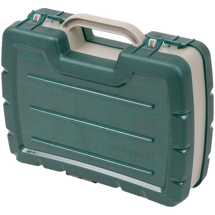 FLAMBEAU:Coffre de pêche double robuste de 11 po de type sacoche vert/gris