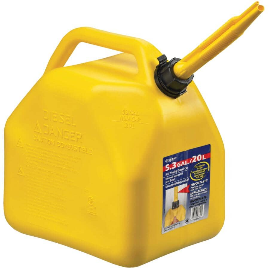SCEPTER:20 L Diesel Jerry Can - Plastic + Vented + Yellow
