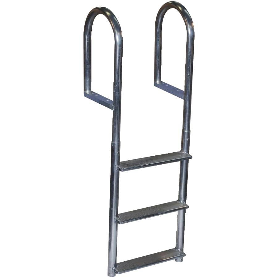 DOCK EDGE + INC:Fixed Aluminum Dock Ladder - with 3 Wide Steps