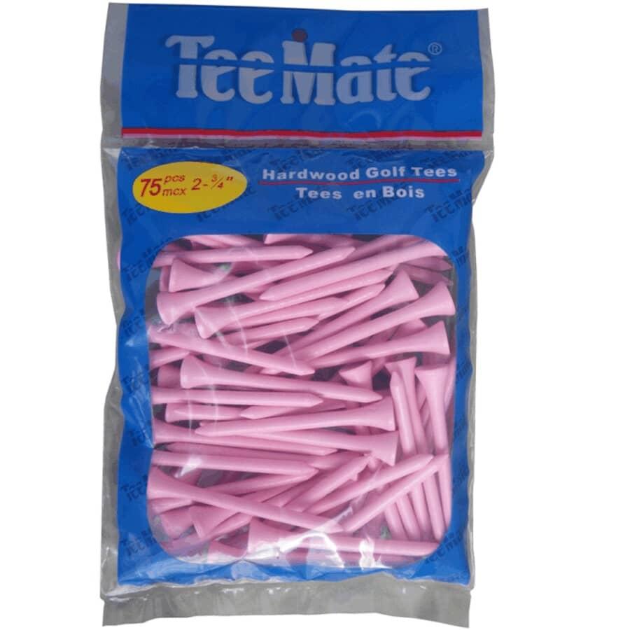 """TEEMATE:75 Pack 2-3/4"""" Pink Golf Tees"""
