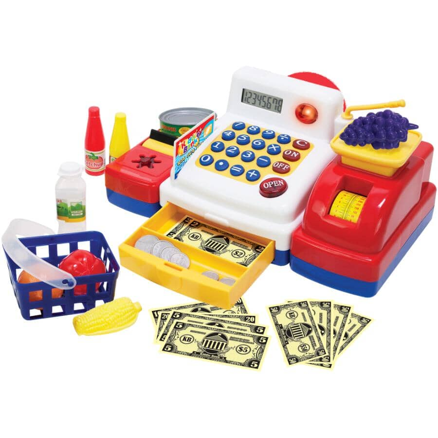FAMOUS TOYS:Battery-Operated Cash Register Playset - 63 Pieces