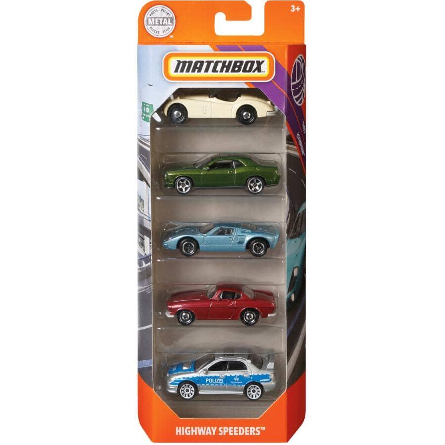 MATCHBOX:Paquet de 5 véhicules, véhicules variés