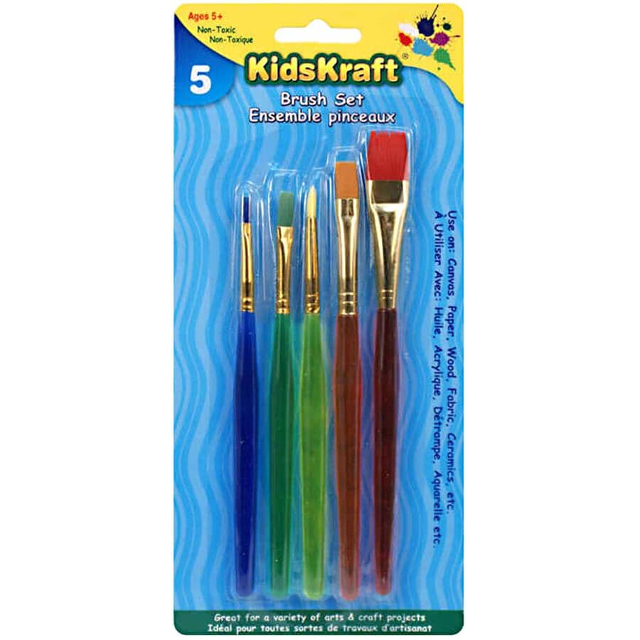 KIDKRAFT:5 Pack Paint Brush Set - with Plastic Handle
