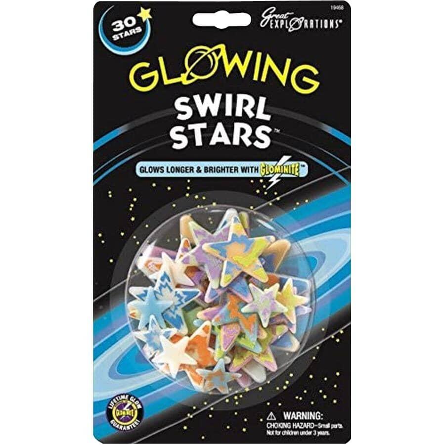 UNIVERSITY GAMES:Glowing Swirl Stars - 30 Pack