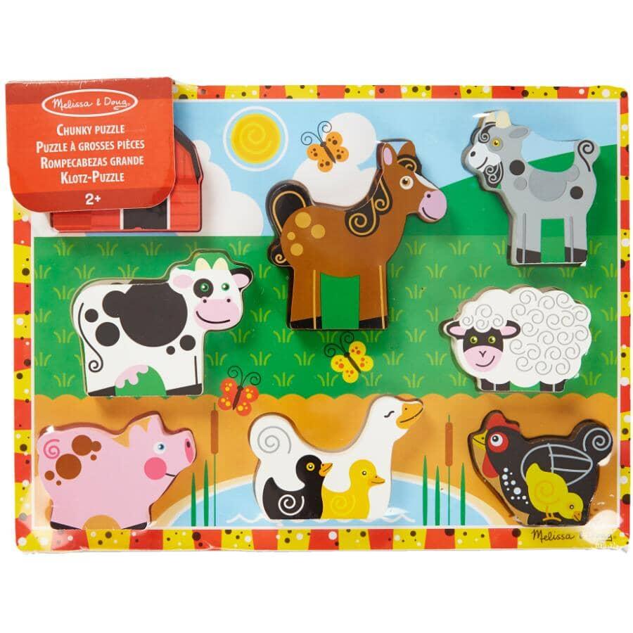 MELISSA & DOUG:Casse-tête en bois à grosses pièces pour enfants, thème de ferme
