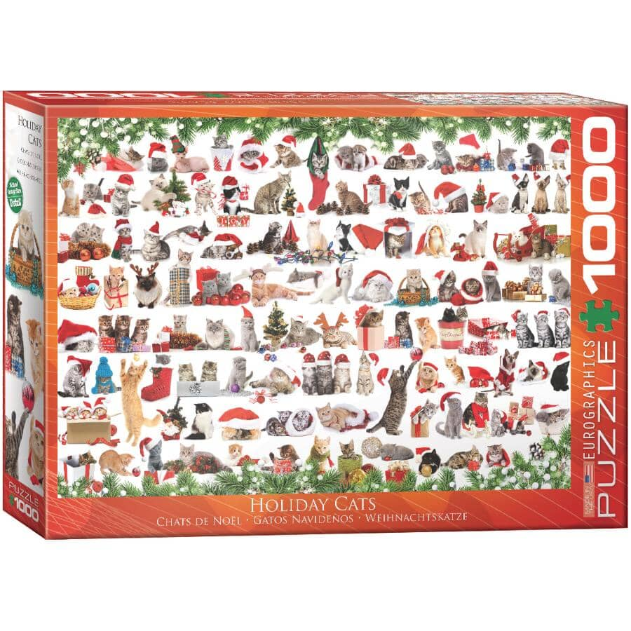 EUROGRAPHICS:Holiday Cats Puzzle - 1000 Pieces