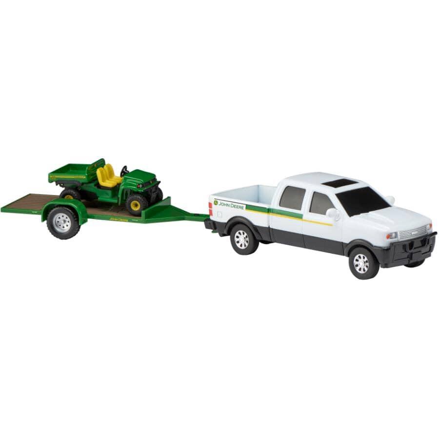 TOMY:Ensemble de camionnette John Deere avec remorque, modèles variés