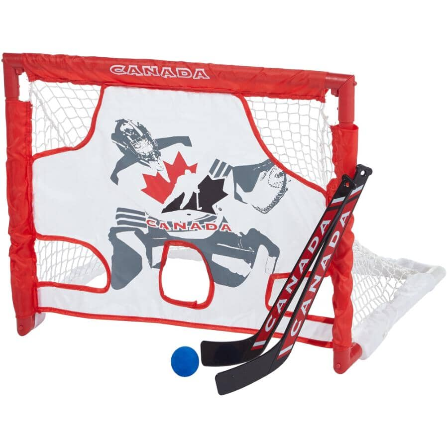 HOCKEY CANADA:Mini Net and Target Hockey Set, with 2 Sticks, Balls and Carry Case