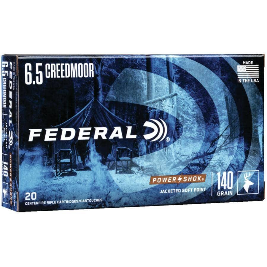 FEDERAL AMMUNITION:6.5 mm Creedmor 140 Grain Power-Shok Ammunition - 20 Rounds