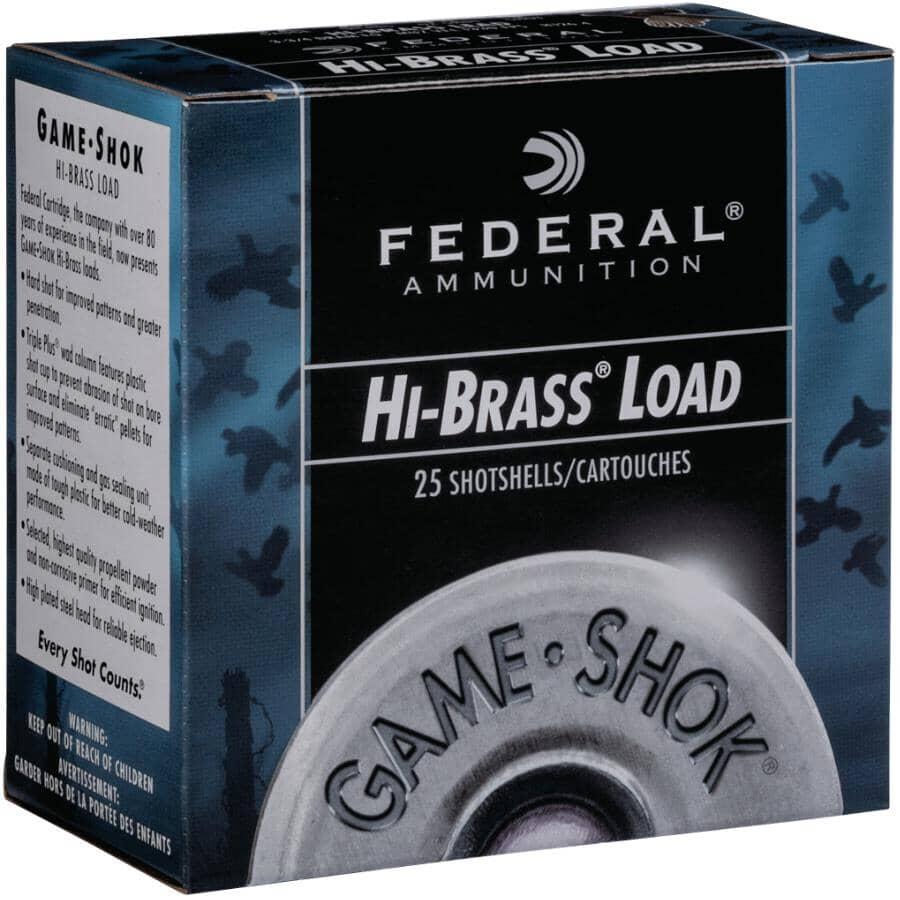 FEDERAL AMMUNITION:12 Gauge #4 High Brass Game-Shok Ammunition - 25 Rounds