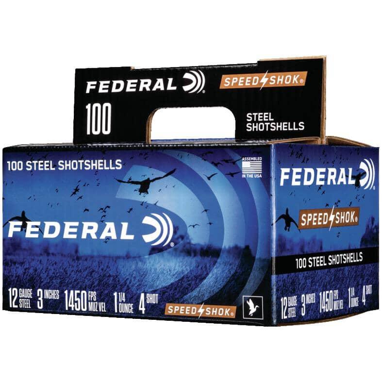 "FEDERAL AMMUNITION:3"" 12 Gauge #4 High Velocity Speed-Shok Ammunition - 100 Rounds"