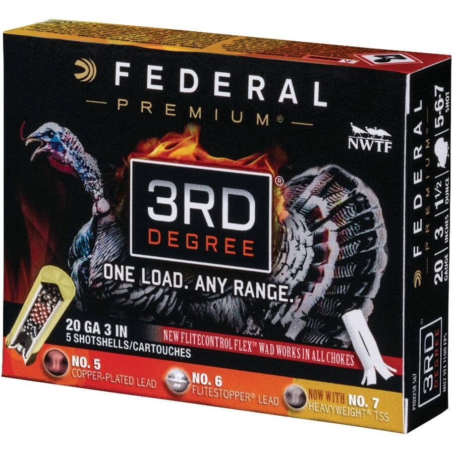 """FEDERAL AMMUNITION:3"""" 20 Gauge 3rd Degree Ammunition - 5 Rounds"""
