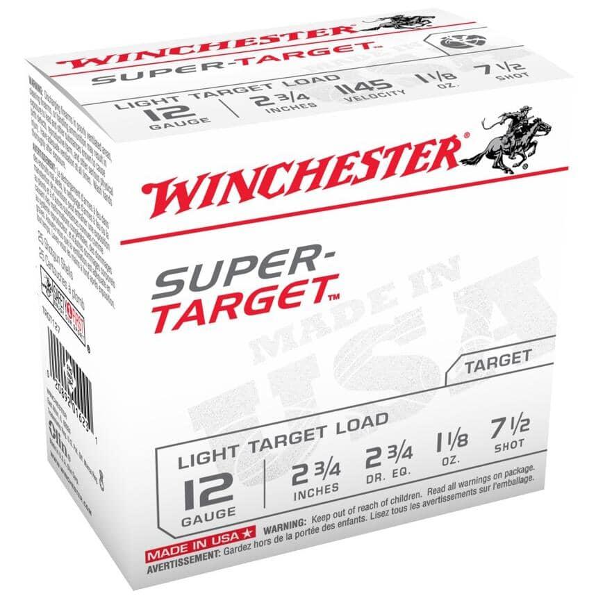 "WINCHESTER:2-3/4"" 12 Gauge #7.5 Super Target Ammunition - 25 Rounds"