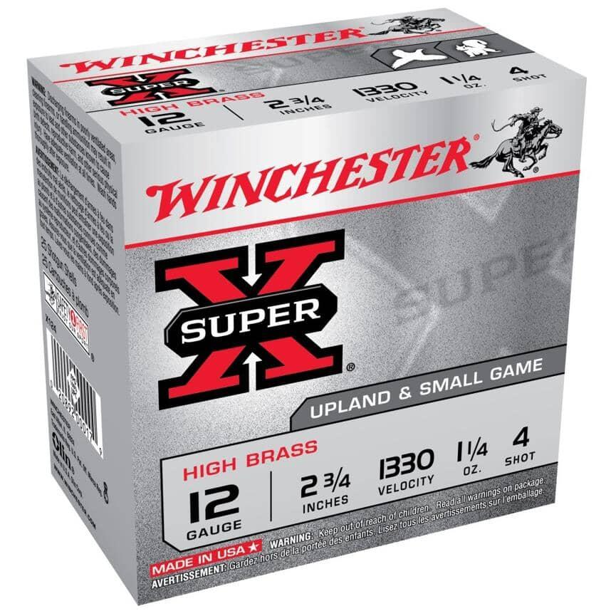 "WINCHESTER:2-3/4"" 12 Gauge #4 Super-X Ammunition - 25 Rounds"