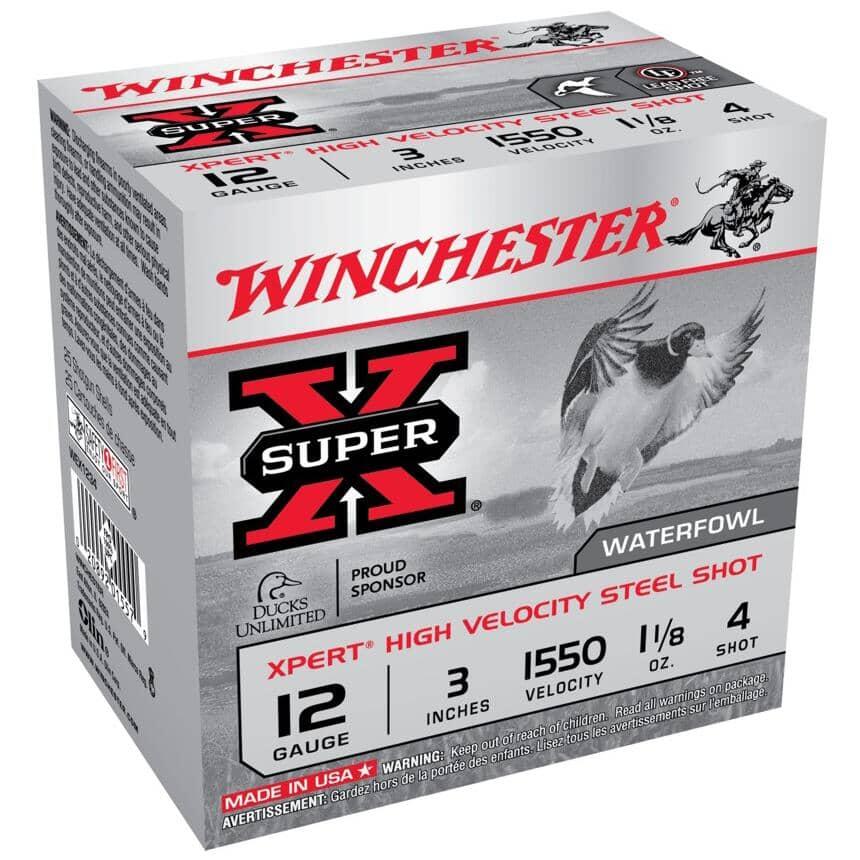 """WINCHESTER:3"""" 12 Gauge #4 High Velocity Steel Xpert Ammunition - 25 Rounds"""