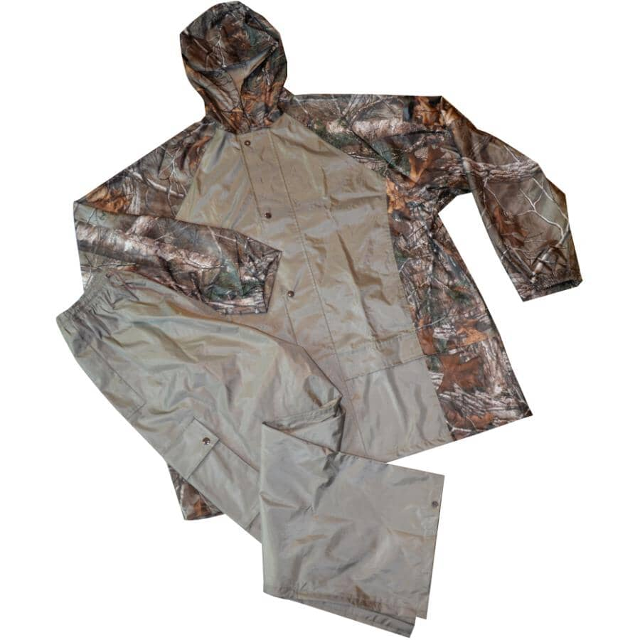 REALTREE:Men's 2 Piece Polyester Rain Suit - Double Extra Large, Camo