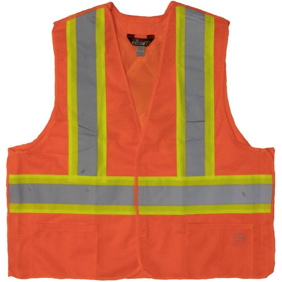 WORK KING:5-Point Tearaway Safety Vest - Large / Extra Large, Fluorescent Orange