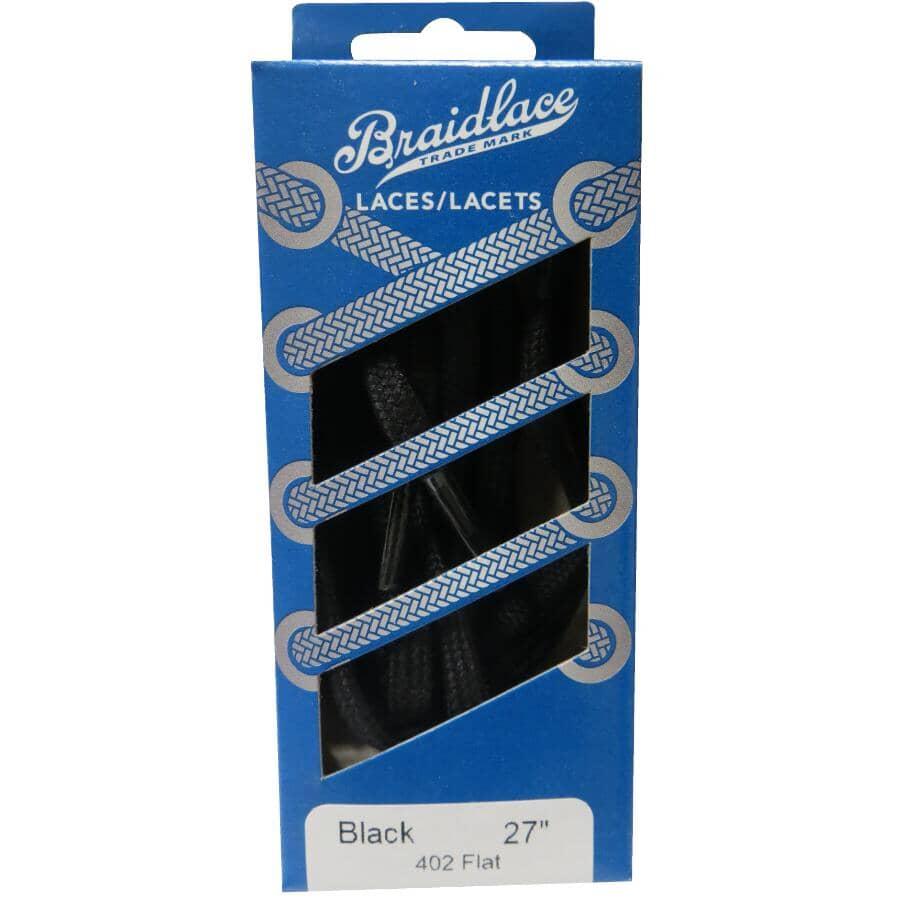 """BRAIDLACE:Flat Shoe Laces - 27"""", Black"""