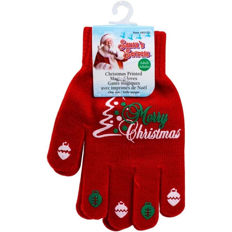 SANTA'S SECRETS:Unisex Christmas Printed Magic Gloves - One Size, Assorted Designs