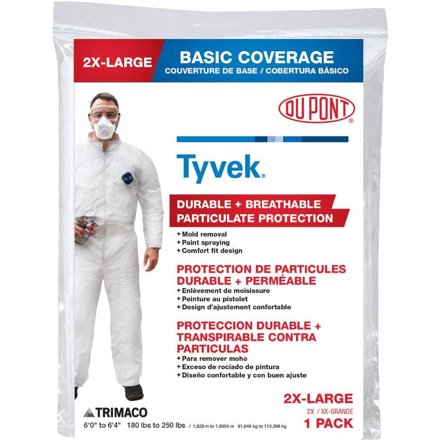 TRIMACO:DuPont Tyvek Disposable Protective Painter's Coveralls - Double Extra Large