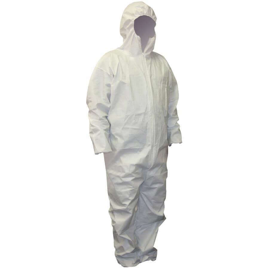 WORKHORSE:Men's Disposable Protective Painter's Coveralls - Large, White