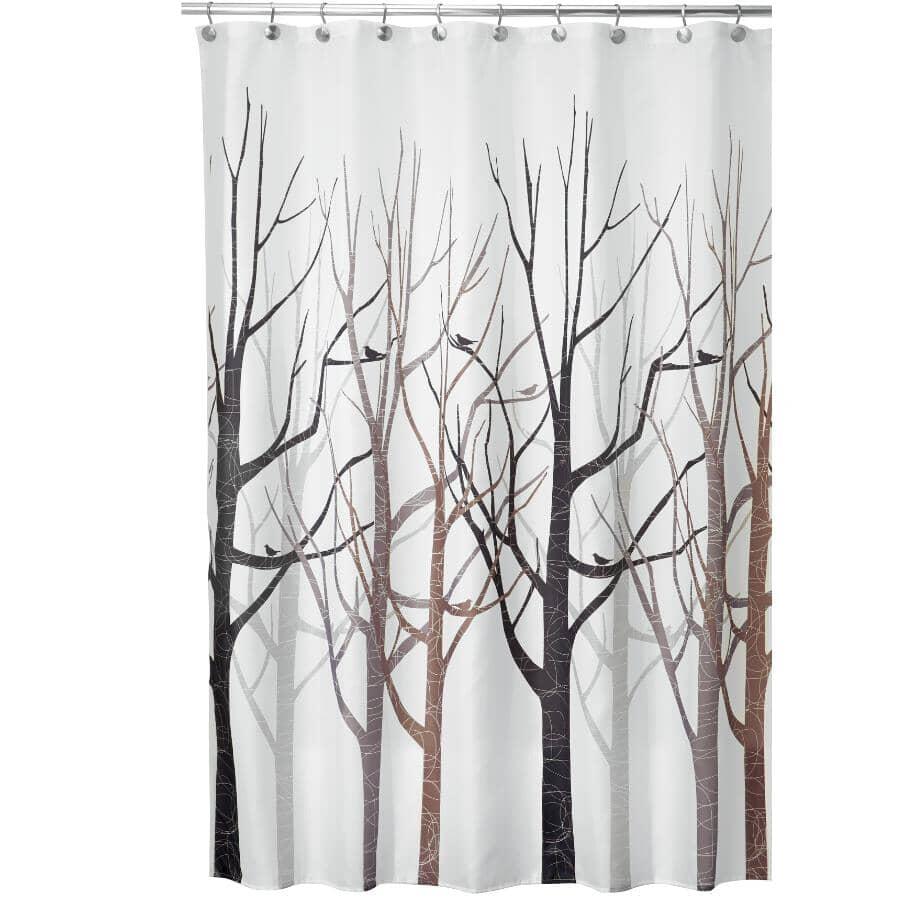 """INTERDESIGN:Polyester Shower Curtain - Forest Grey + Black, 72"""" x 72"""""""