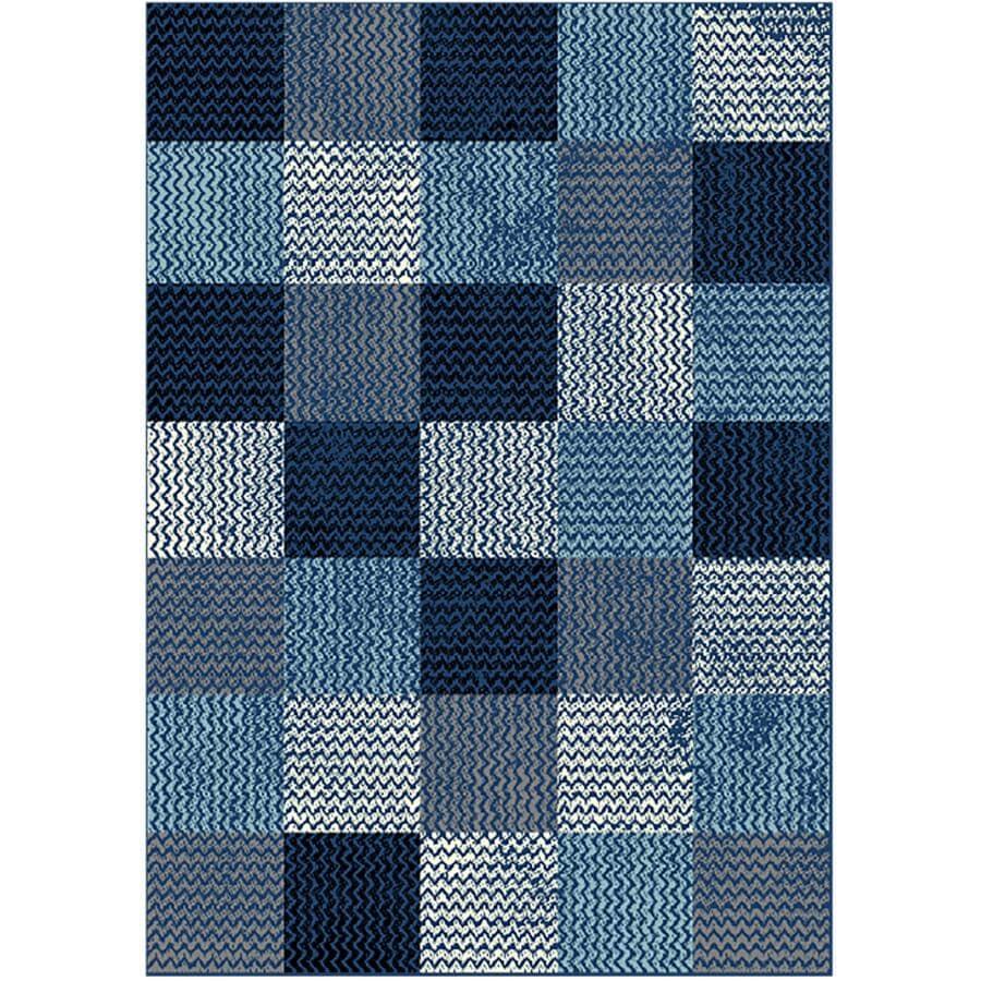 KALORA INTERIORS:5' x 7' Faira Area Rug - Light Blue to Dark Blue Square Pattern