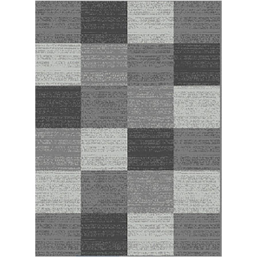KALORA INTERIORS:5' x 7' Faira Area Rug - Light Grey to Dark Grey Square Pattern