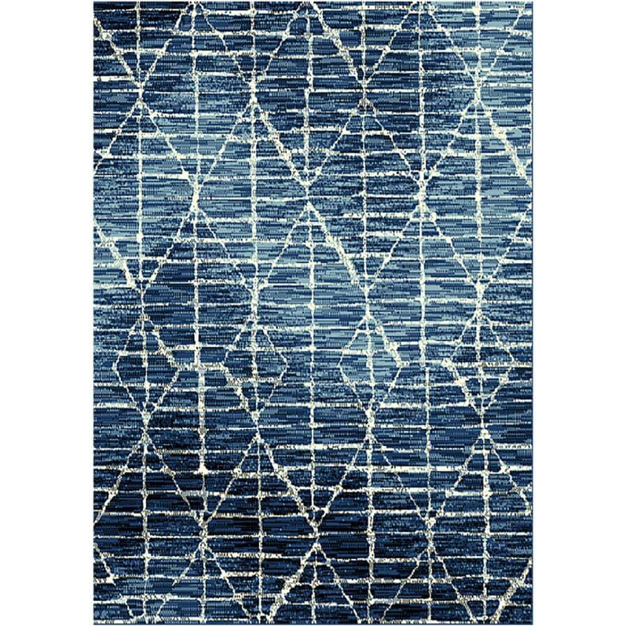 KALORA INTERIORS:5' x 7' Faira Area Rug - Light Blue to Dark Blue + White Pattern