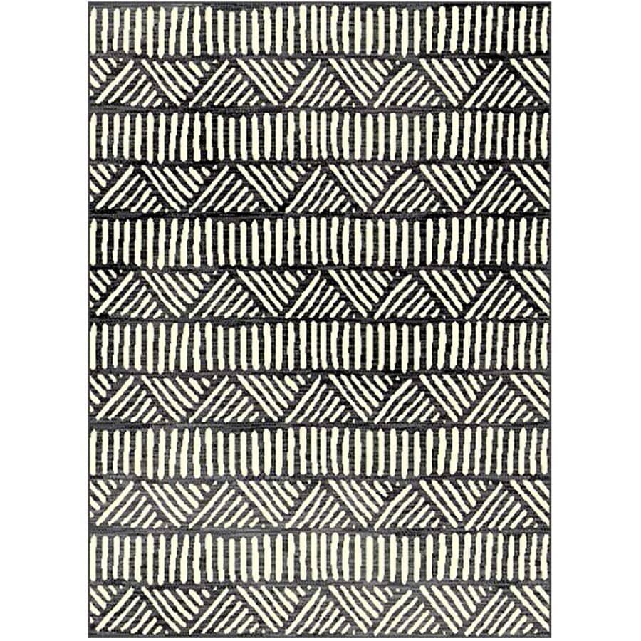 KALORA INTERIORS:5' x 7' Faira Area Rug - Grey + Cream Line Pattern